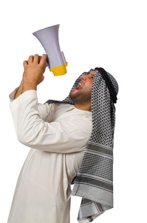 qameez: Arab man with loudspeaker isolated on white
