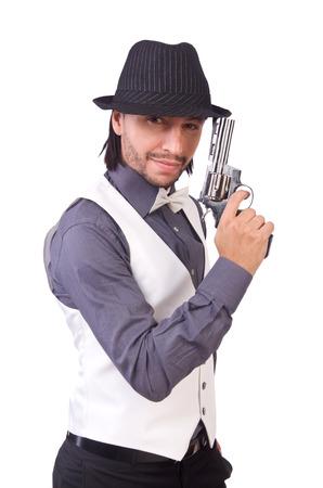 agent de s�curit�: Homme avec un pistolet isol� sur le blanc Banque d'images