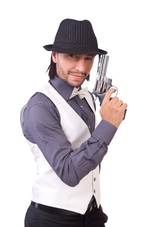 hand guard: Man with gun isolated on the white