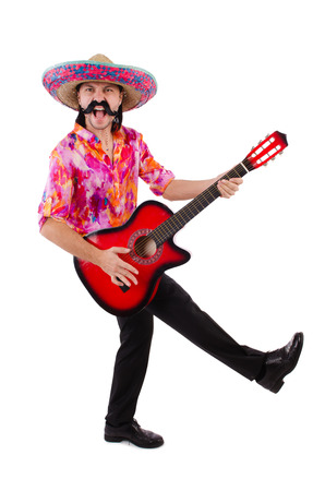Mexican male brandishing guitar isolated on white photo