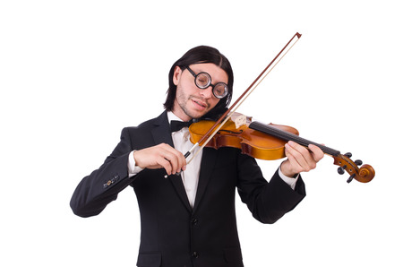 Funny man with music instrument on white photo
