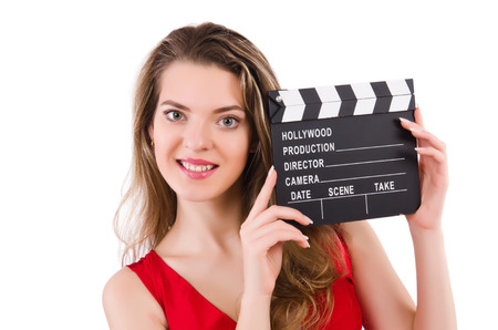 clapperboard: Woman with clapperboard isolated on white Stock Photo