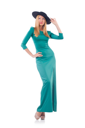 maxi dress: Young woman in fashion concept