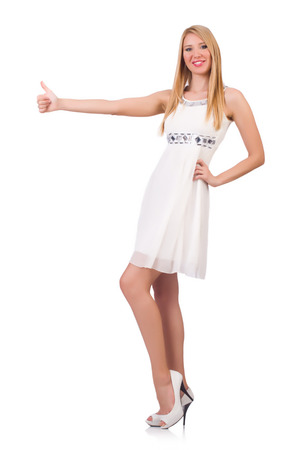hitch hiker: Woman giving thumbs up isolated on white