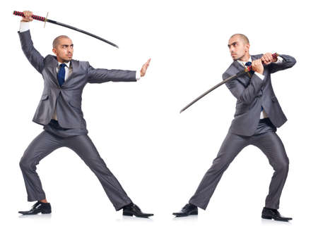 argue: Two men figthing with the sword isolated on white