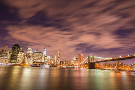 Night panorama of Manhattan in New York, USA photo