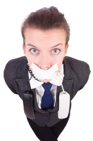 corporate espionage: Woman with her mouth sealed isolated on white Stock Photo