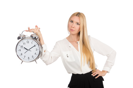 Businesswoman with clock isolated on the white background photo