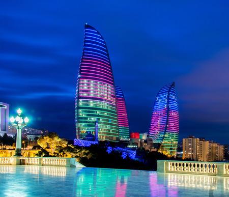 baku: Baku - MARCH 9, 2014: Flame Towers on March 9 in Azerbaijan, Baku. Flame Towers are new skyscrapers in Baku