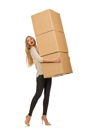 relocating: Woman with boxes relocating to new house isolated on white Stock Photo