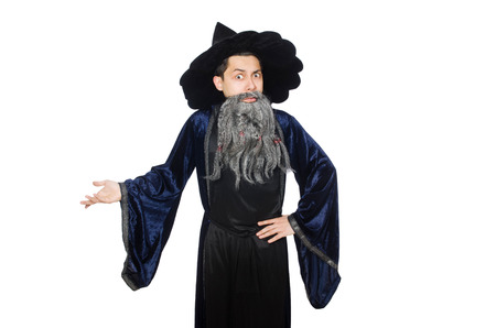 magus: Funny wise wizard isolated on the white