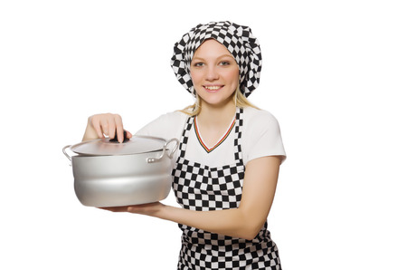 Woman cook isolated on the white background photo