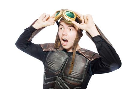 adventure aeronautical: Funny pilot with goggles isolated on white Stock Photo