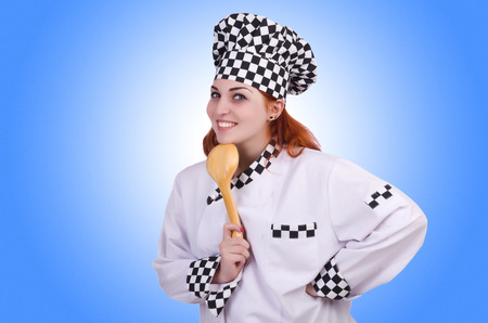 Woman cook isolated on the white photo