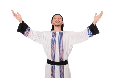 vicar: Concept with arab man isolated on white