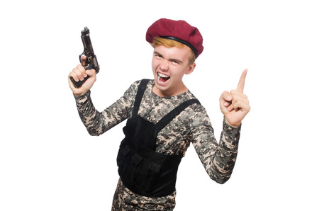 guerrilla warfare: Funny soldier in military concept isolated on the white Stock Photo