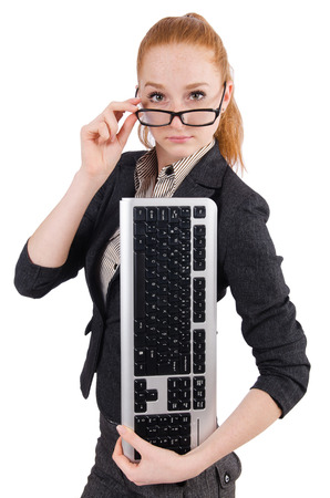 Woman with keyboard isolated on white