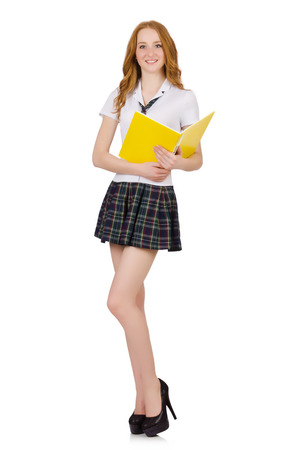 Young student isolated on the white photo