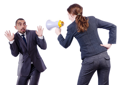 sex discrimination: Office conflict between man and woman isolated on white Stock Photo