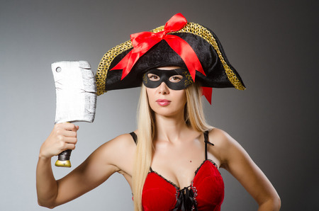 Pirate with mask and axe photo