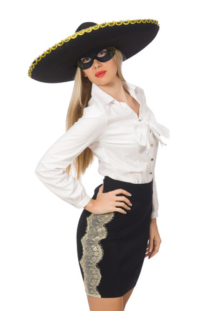 impostor: Woman wearing sombrero isolated on white