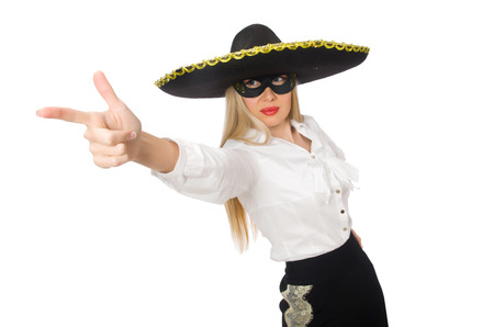 insincere: Woman wearing sombrero isolated on white