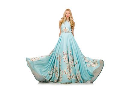 traje de gala: Mujer vestido de bola que llevaba aislado en blanco