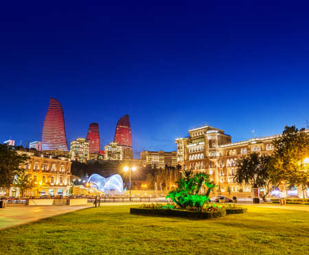 Azneft square during evening hours in Baku Azerbaijan