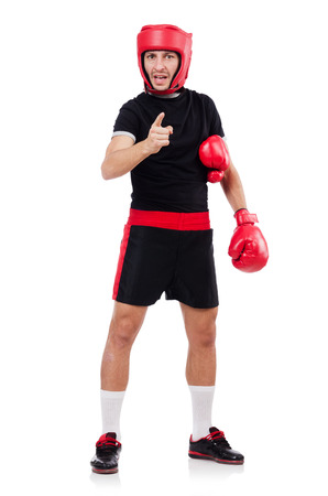 frail: Funny boxer isolated on the white Stock Photo
