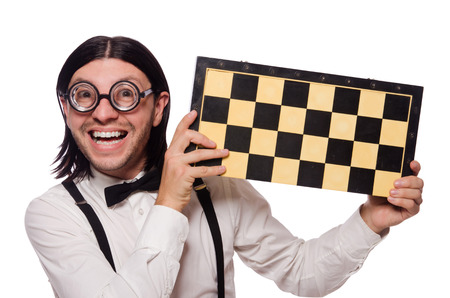 chess player: Nerd chess player isolated on white