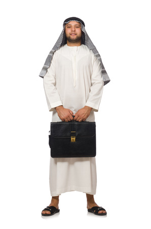 kameez: Concept with arab man isolated on white
