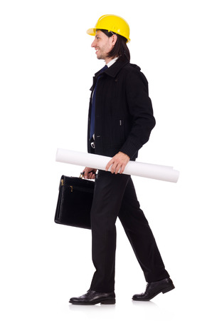 Young construction architect isolated on the white photo