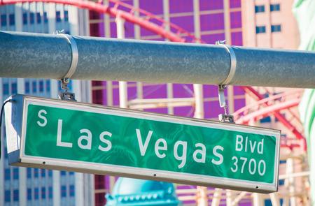 las vegas lights: Las Vegas street sign on summer day