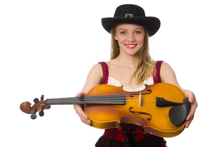 fiddlestick: Young violin player isolated on white