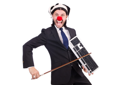 Funny clown businessman isolated on the white background photo