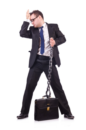 cuff bracelet: Businessman with chain isolated on the white Stock Photo