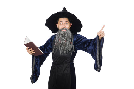 sombrero de mago: Divertido mago sabio aislado en el blanco