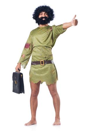 prehistoric man: Savage man isolated on white Stock Photo
