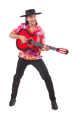 spanish guitar: Man wearing sombrero with guitar Stock Photo