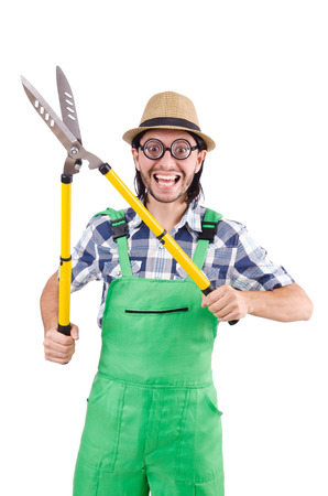 Funny gardener with shears isolated on white photo