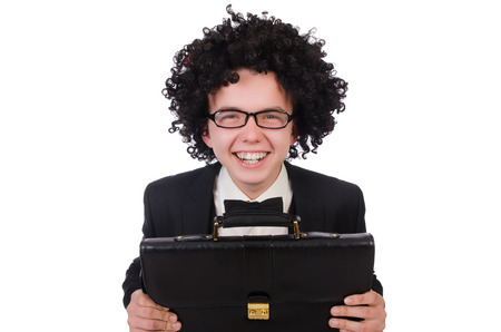 afro hairdo: Funny businessman isolated on the white