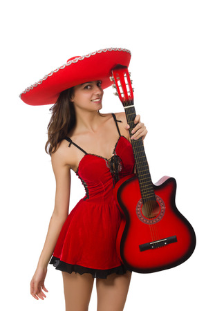 Woman wearing red sombrero isolated on white photo
