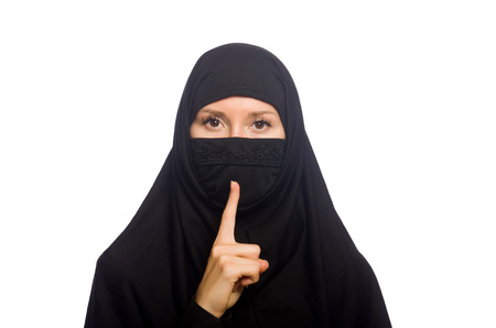 burka: Muslim woman isolated on the white Stock Photo