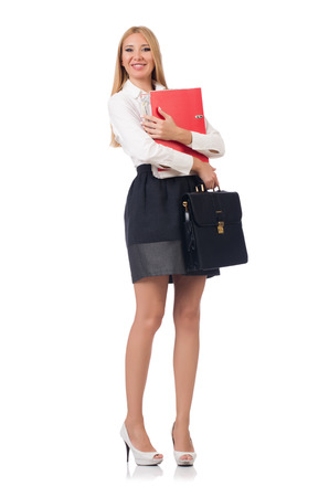 Businesswoman in business concept isolated on white photo