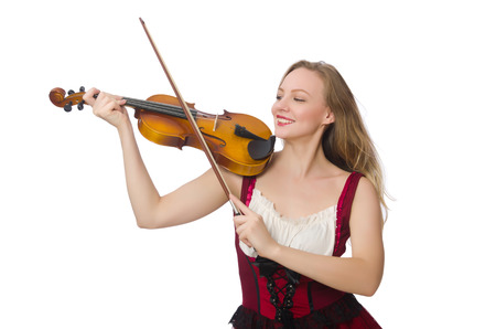 solo violinist: Young violin player isolated on white