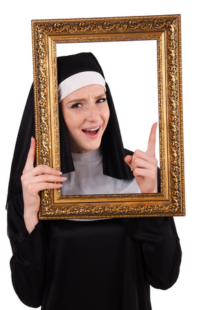Young nun with frame isolated on white photo