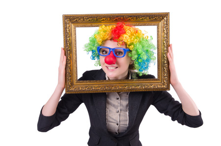 Funny clown girl with frame isolated on white photo