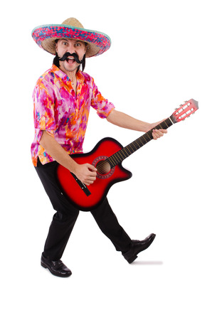 brandishing: Mexican male brandishing guitar isolated on white