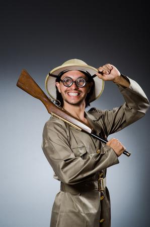 hunter: Funny safari hunter with rifle Stock Photo