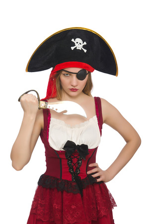 Woman pirate isolated on white photo